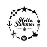 Hello Summer lettering on white background Stock Images