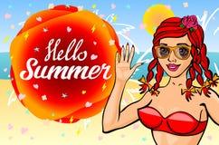Hello summer lettering and Woman Sitting on Sand of the Sea Beach and Takes Sunbath. Bikini girl on the sea beach. Summer pinup vi Stock Photos