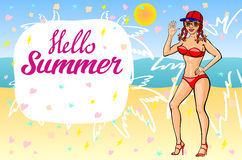 Hello summer lettering and Woman Sitting on Sand of the Sea Beach and Takes Sunbath. Summer time. Summer girl. Summer beach. Bikin Royalty Free Stock Photography
