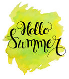 Hello summer lettering on yellow green watercolor stroke. Vector illustration.Summer Watercolor Design.Summer Typography Lettering. Aquarelle Style.Hello Summer Stock Image