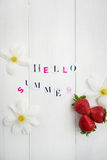 Hello Summer Letters cut out from the Magazine Stock Photos