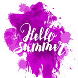 Hello summer lilac colored hand lettering Royalty Free Stock Photos