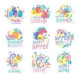 Hello Summer logo template original design set, colorful hand drawn vector Illustrations Stock Image