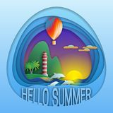 Hello summer logo template. Sunset with balloon, dolphins, lighthouse near mountain and palm trees. Tourist label illustration in paper cut style stock illustration