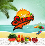 Hello Summer logo. Summer time, enjoy your holiday, vector illustration Stock Photo
