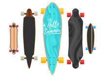 Hello summer Longboard concept. Active sport lifestyle. Vector Illustration icons isolated on white background. Flat colorful sign for web site design or print Royalty Free Stock Photography