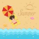 Hello summer,man sleep on the beach Royalty Free Stock Images