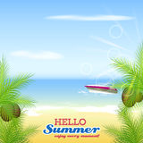 Hello summer. Motorboat, palms, coconuts, beach and sea. Royalty Free Stock Photo