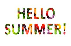 Hello summer, multi-colored text cut out of vegetables photo, the inscription on white background royalty free illustration