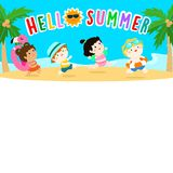 Hello summer multicultural cute kids template vector Stock Image