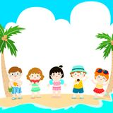 Hello summer multicultural cute kids template vector Stock Images