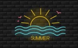 Free Hello Summer, Neon Sun And Sea Light, Summer Background, Neon Light Royalty Free Stock Photography - 153740207