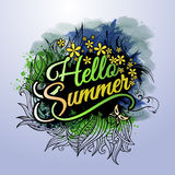 Hello Summer paint inscription Stock Photos