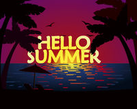 Hello summer. Palm beach. Illustration Stock Images