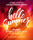 Hello Summer Party Flyer. Vector Design Royalty Free Stock Photo