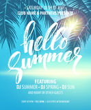 Hello Summer Party Flyer. Vector Design royalty free illustration