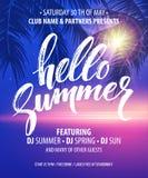 Hello Summer Party Flyer. Vector Design stock illustration