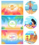 Hello Summer Party 2017 Set Vector Illustration. Hello summer party 2017 set of images with headlines and decoration, man with phone and laptop, woman working at Stock Photography