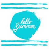 Hello summer phrase. Hand written text on stylized blue rough edged round. Calligraphy. Inscription ink hello summer. Stock Images