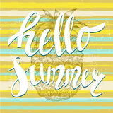 Hello summer with a pineapple. Hand written unique lettering Stock Photography