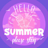 Hello summer please stay party flyer Stock Photography