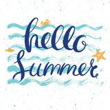Hello summer postcard. Vector hello summer post card with lettering on blue wavy background Stock Image
