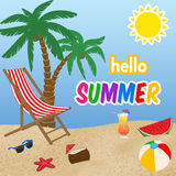 Hello summer poster design Stock Photography