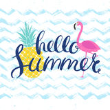 Hello summer poster with flamingo Royalty Free Stock Images
