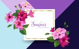 Hello Summer Poster. Floral Design with Pink Hibiscus Flowers for Party Invitation, Banner, Flyer, Sale, Advertising. Tropical Botanical Background. Vector Stock Images