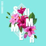 Hello Summer Poster. Floral Design with Pink Hibiscus Flowers for T-shirt, Fabric, Party, Banner, Flyer. Tropical. Botanical Background. Vector illustration Stock Photo