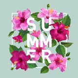 Hello Summer Poster. Floral Design with Pink Hibiscus Flowers for T-shirt, Fabric, Party, Banner, Flyer. Tropical. Botanical Background. Vector illustration Royalty Free Stock Photo