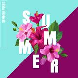 Hello Summer Poster. Floral Design with Pink Hibiscus Flowers for T-shirt, Fabric, Party, Banner, Flyer. Tropical. Botanical Background. Vector illustration Royalty Free Stock Images