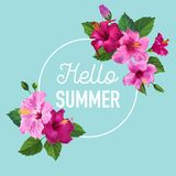 Hello Summer Poster. Floral Design with Purple Hibiscus Flowers for T-shirt, Fabric, Party, Banner, Flyer, Greetings Stock Photos