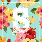 Hello Summer Poster. Floral Design with Red and Yellow Hibiscus Flowers for T-shirt, Fabric, Party, Banner, Flyer. Tropical Botanical Background. Vector Stock Images