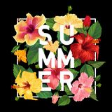 Hello Summer Poster. Floral Design with Red and Yellow Hibiscus Flowers for T-shirt, Fabric, Party, Banner, Flyer. Tropical Botanical Background. Vector Stock Photos