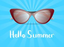 Hello summer poster with glamour sunglasses. Hello summer poster with glamour womens sunglasses. Female elegant eyeglasses, fashion accessory vector illustration Royalty Free Stock Photo