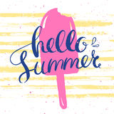 Hello summer poster with pink icecream. Hello summer card with pink ice cream and hand drawn lettering, vector illustration Stock Photography