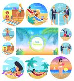 Hello Summer 2017 Poster Set Vector Illustration. Hello summer 2017, poster set, headline and palms in centerpiece, people working by sea at beach using laptops Royalty Free Stock Images