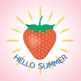 Hello summer poster with strawberry. Vector. Royalty Free Stock Photo