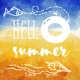 Hello summer poster. Summer watercolor Illustration for beach holidays. Sunny beach with starfish, lifebuoy, fish, shell. Hello summer poster. Summer watercolor Royalty Free Stock Photo