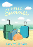Hello summer poster to advertise travel packages to sea. Illustration with a suitcases on a beach. Hello summer poster to advertise travel packages to sea Stock Photo