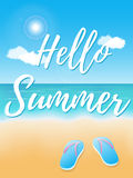 Hello Summer poster. Hello Summer. Poster on tropical beach background. Vector illustration Stock Image