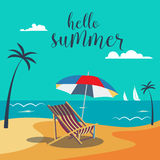 Hello Summer Poster. Tropical Beach with Palm Trees and Umbrella Royalty Free Stock Photos