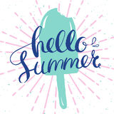Hello summer print. Hello summer card, vector card with ice-cream and hand-drawn lettering for summer holidays Royalty Free Stock Photos