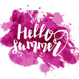 Hello summer purple colored hand lettering Stock Photo