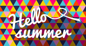 Hello summer quote on geometric color background Stock Images