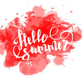 Hello summer red colored hand lettering Stock Photo