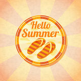 Hello summer retro background with beach slippers Stock Image