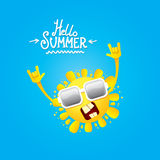 Hello summer rock n roll poster. summer party Royalty Free Stock Photos
