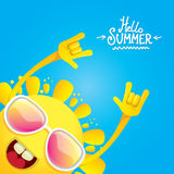 Hello summer rock n roll poster. summer party Stock Images